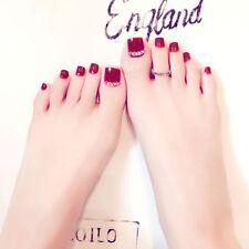 24Pcs Red Rhinestone Art Tips Full Cover False Toe Fake Nails Manicure CN