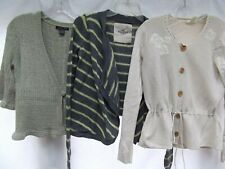 lot 3 cardigan sweaters open wrap v-neck shirt crochet beige stripe S Hollister