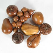 Vintage 8 Pc Carved Decorative Wood Fruit Grape Apple Pear Mid Century Brown