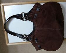 St John's Bay Faux Leather Suede Brown Chocolate Handbag Shoulder Bag Purse  EUC