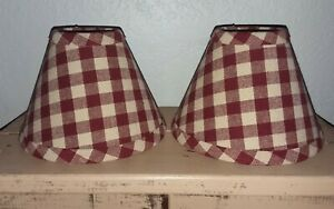 2 new country red check plaid fabric chandlier mini clip on Lamp Shades