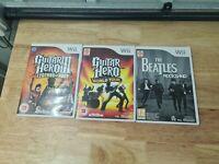 Nintendo Wii Guitar Hero Game Bundle Legends of Rock, World Tour, Beatles