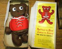 Vintage Creative Educational Button & Bow Lace & Snap Teddy Bear Shackman Japan