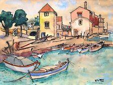 Willy Menz 1890-1969 Bremen/acuarela/(probablemente) puerto en Yugoslavia/1963