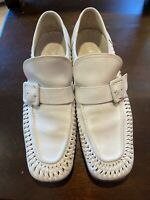 Vintage MENS WHITE LEATHER SLIP ON BUCKET STRAP & BRAIDED SHOES 9 1/2