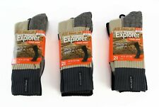 6 PAIRS X EXPLORER TOUGH WORK SOCKS Black Grey Cotton Durable Outdoor Crew