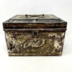Antique Primitive 1800s Tole Hand Painted Tin Document or Lunch Box Brass Handle