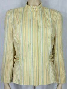Carlisle yellow blue gray striped fully lined button front blazer ladies size 10