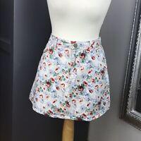 Ladies New Motel Denim Floral Mini Skirt Size M 12-14 Pockets Spring Summer