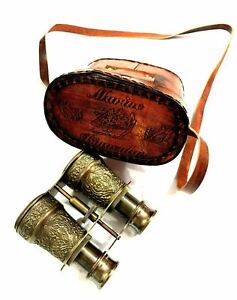 Nautical Marine Brass Engraved Binocular Antique Spyglass with Red Leather