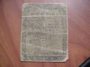1776 2/3 TWO THIRDS OF A DOLLAR CONTINENTAL COLONIAL CURRENCY HALL SELLERS NOTE