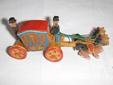 Vintage Hand Carved Wooden Horse Drawn Coach W / Box Japan Cinderella