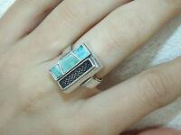 Vintage Estate Artisan Turquoise Modernist Sterling Silver Ring US Size 7 925