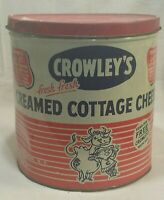 Vintage Crowley's Creamed Cottage Cheese Binghamton NY LARGE TIN Held 30 lbs.