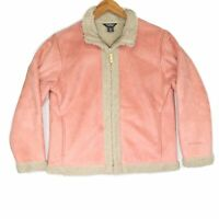 Woolrich Women's Pink Suede Zip Sherpa Fleece Jacket - Size Medium