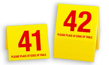 Plastic Table Numbers 41-60, Tent Style, Yellow w/ Red Number, Free shipping