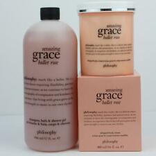 PHILOSOPHY AMAZING GRACE BALLET ROSE WHIPPED BODY CREME & 3 n 1 SHOWER GEL 32 oz