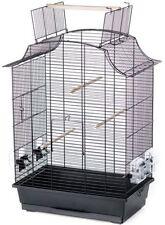 Vogelkäfig Greta mit Freiflug, schwarze Gitter & schwarzes Zubehör, 4 Näpfe