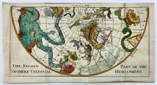 1740 CELESTIAL CHART Pluche South Pole Southern Hemisphere - Hand coloured