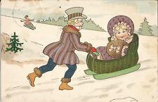 Winter, Mann mit Frau im Schlitten, Biedermeier-Mode, alte Litho-Ak von 1908