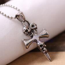 Men's Stainless Steel Skull Skeleton Cross Biker Pendant Necklace Chain Unisex