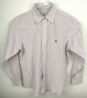 Brooks Brothers Mens L Supima Regent Button Front Shirt White Red Blue Stripe