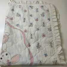 vintage baby blanket precious moments 1986 white ruffled pink bow bunny toddler