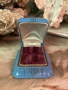 Antique Vintage Art Deco Celluloid Blue Velvet Jewelry Ring Presentation Box
