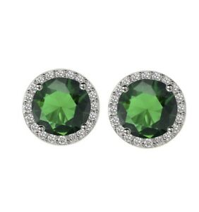 White Gold Finish Round Cut Emerald and White Stone Circular Earrings