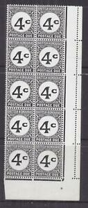BRITISH HONDURAS, POSTAGE DUE, 1956, 4c. TOP SERIF MISSING in corner block of 10