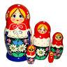 Poupée Russe 5 pieces cadeau Enfant, Poupée Russe Matriochka bleu rouge