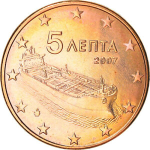 [#381959] Grèce, 5 Euro Cent, 2007, Athènes, SUP+, Copper Plated Steel, KM:183