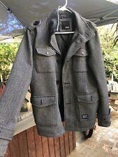 KR3W Machester M-65 Jacket Mens Krew Size S Herringbone Black White Gray Grey