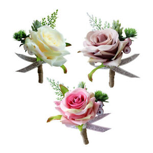 3Pcs Wedding Boutonniere Artificial PE Rose Flowers Corsages for Bride Groom