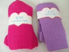 Lot 2 NEW Girls 12/24 mo Heavy Winter Tights Childrens Place Hot Pink and Purple