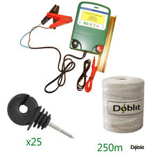 Doblit Meadow 0.6J Battery Electric Fence Energiser 12v Poly Wire 250m Bundle