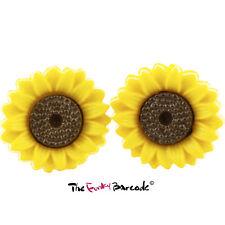 TFB - WILD SUNFLOWER STUD EARRINGS Funky Novelty Summer Sun Flower Petals Kitsch
