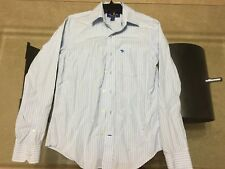 ABERCROMBIE mens DRESS SHIRT sz small BLUE STRIPED long sleeve MUSCLE FIT fitted