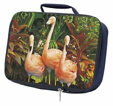 More details for pink flamingo print navy insulated school lunch box bag, ab-74lbn