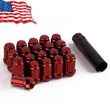 20 Red Bulge Acorn 12x1.5 Spline Lug Nuts fits Acura Honda Mazda Toyota + Key