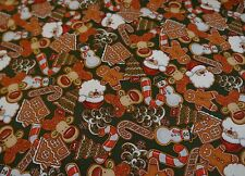 CHRISTMAS COOKIES ON GREEN 100% Cotton Quilt Fabric *by the 1/2 yard* BTHY