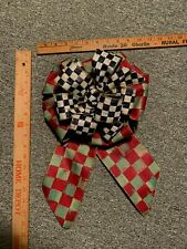 Mackenzie Childs  Courtly Check Orchard Check  Ribbon Wreath Bow  NEW