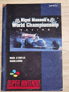 NIGEL MANSELL'S Championship super nintendo Nes Snes ( Manual Only)