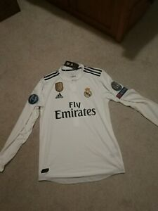 Sergio Ramos Authentic 18/19 Real Madrid L/S UCL Home Jersey