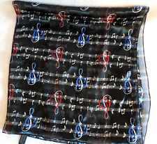 Clef Note  musical notes women sheer Scarf black