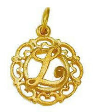 LOOK Gold plated Sterling silver .925 filigree Charm Initial Letter L Celtic Jew