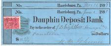 040) ASSEGNI DAUPHIN DEPOSIT BANK DEL 1899 RARO