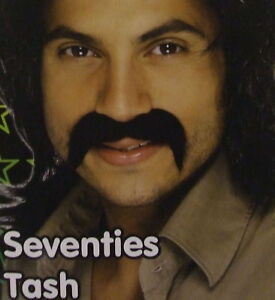 Mens 70s 1970s Fancy Dress Tash Stick on Moustache Tache Black New by Smiffys
