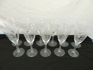 FOSTORIA  ROMANCE GOBLETS WINE GLASSES * LOT OF 11 * ETCHED BOW FLOWERS