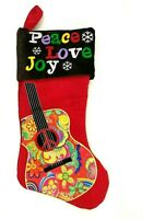 Christmas Stocking Hippy Guitar Peace Love Joy Red Corduroy Brown Embroidery